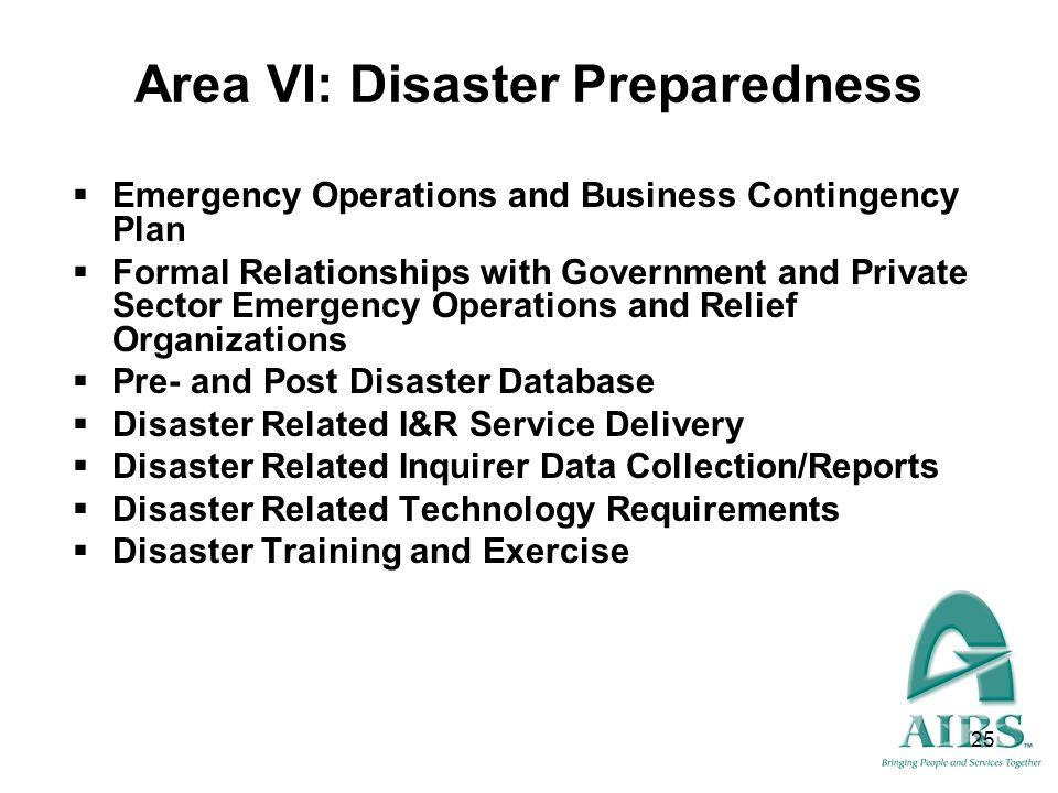 Area VI: Disaster Preparedness