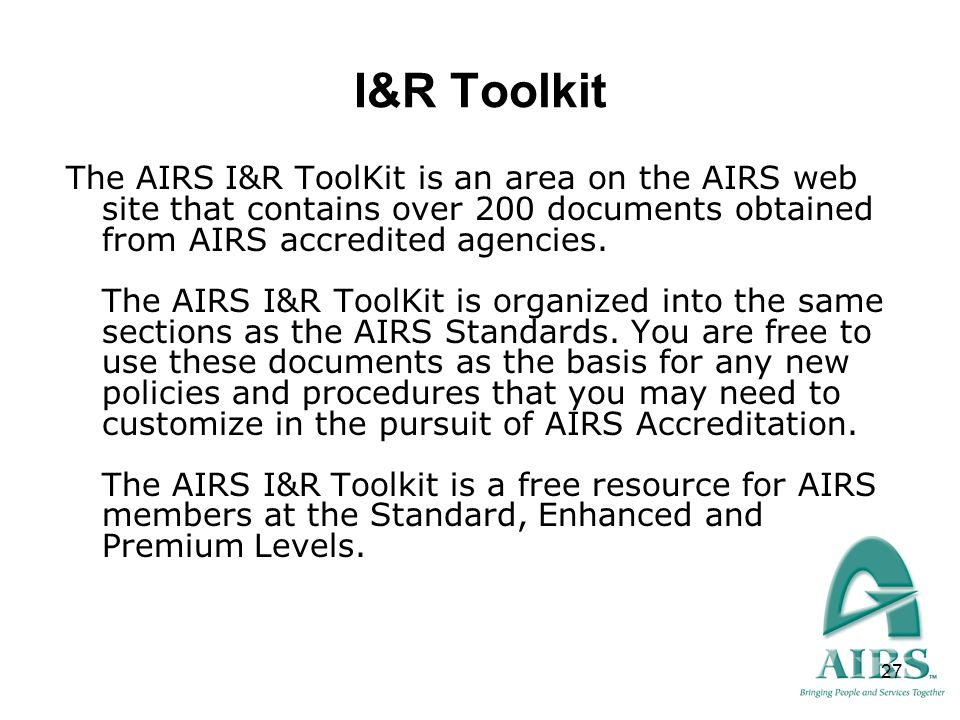 I&R Toolkit