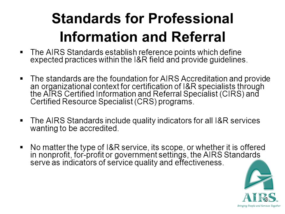Standards for Professional Information and Referral