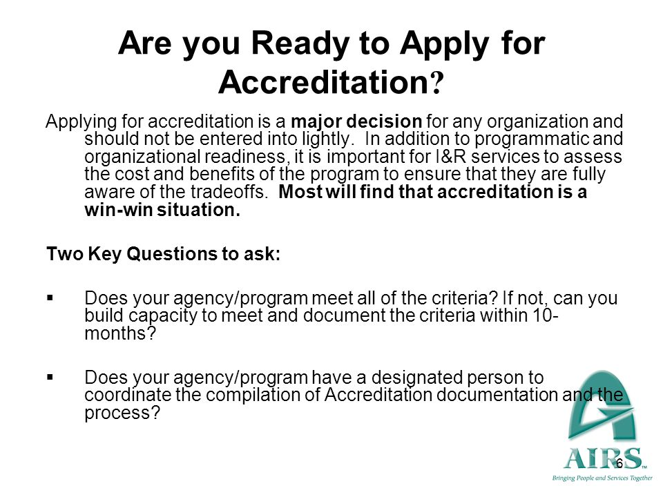 Are you Ready to Apply for Accreditation