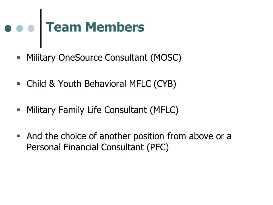 Team Members Military OneSource Consultant (MOSC)