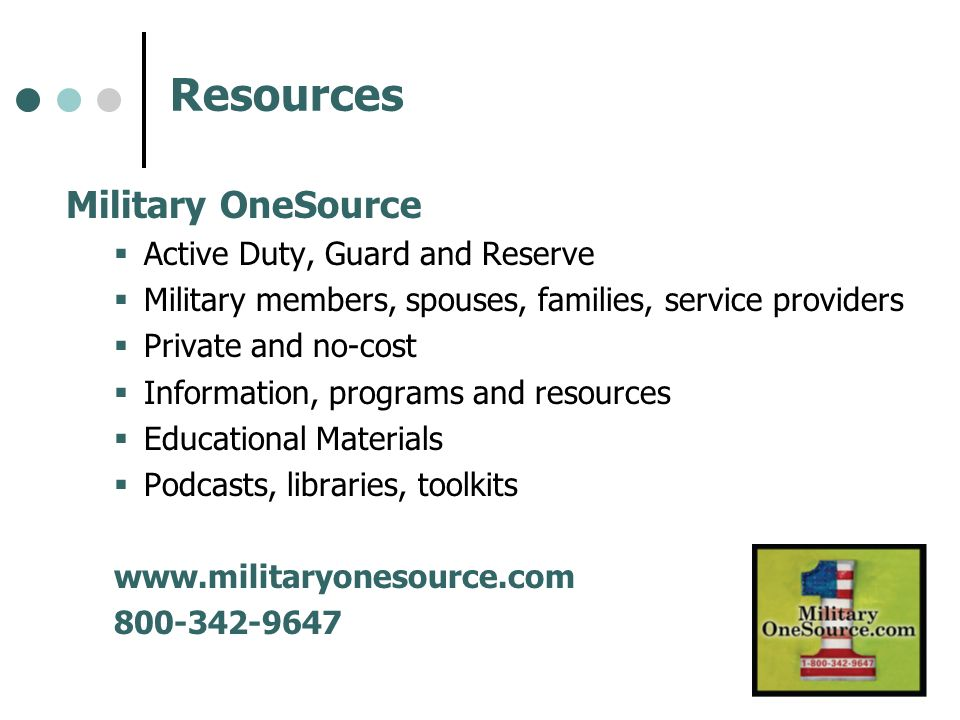 Resources Military OneSource Active Duty, Guard and Reserve