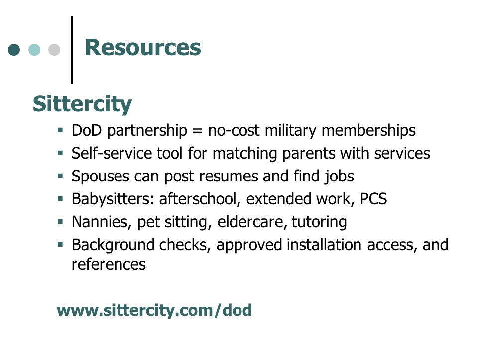 Resources Sittercity DoD partnership = no-cost military memberships