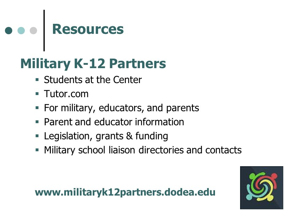 Resources Military K-12 Partners Students at the Center Tutor.com