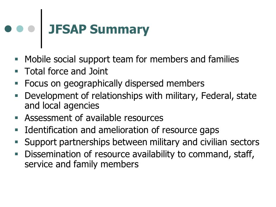 JFSAP Summary Mobile social support team for members and families
