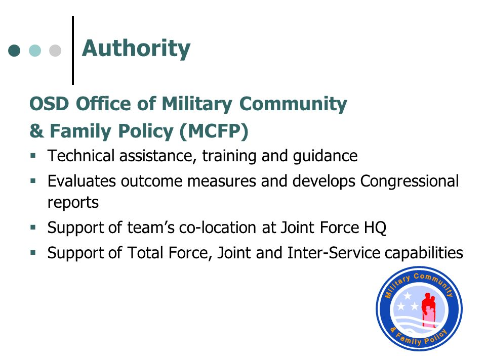 Authority Military Community & Family Policy
