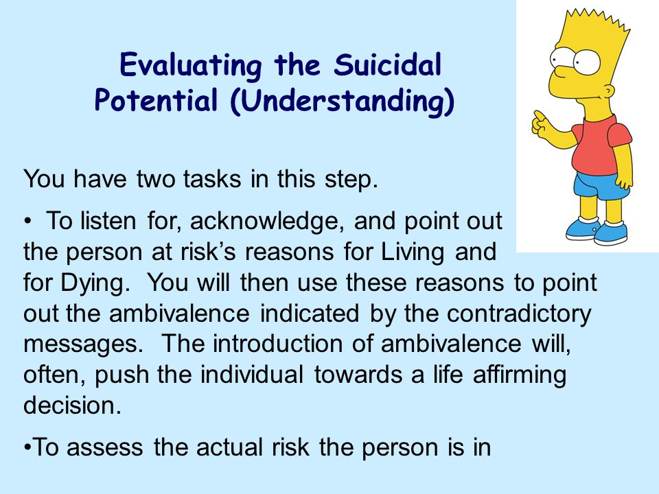 Evaluating the Suicidal Potential (Understanding)