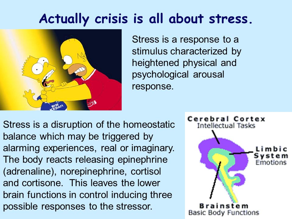 Actually crisis is all about stress.