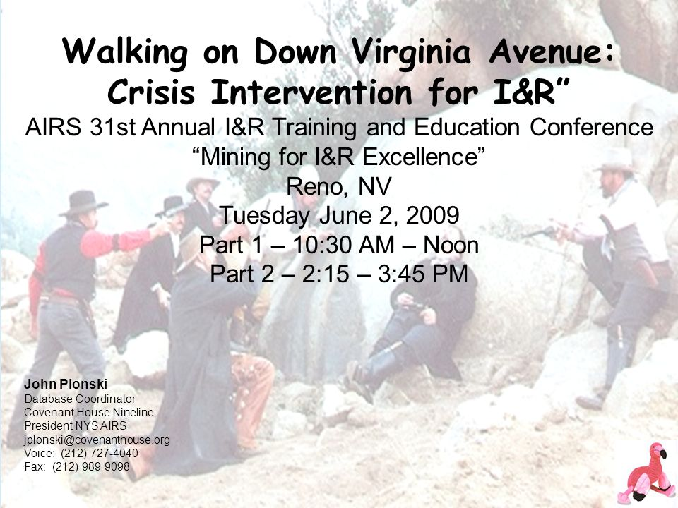 Walking on Down Virginia Avenue: Crisis Intervention for I&R