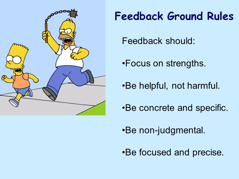 Feedback Ground Rules Feedback should: Focus on strengths.