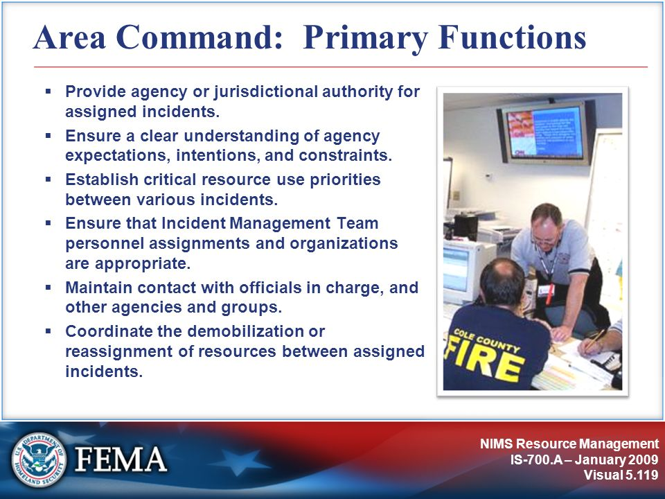 Area Command: Primary Functions