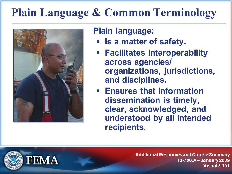Plain Language & Common Terminology