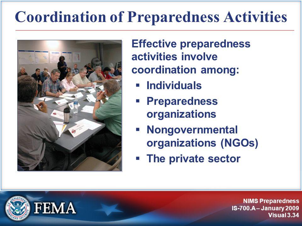 Coordination of Preparedness Activities