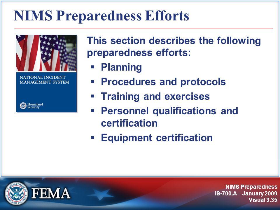 NIMS Preparedness Efforts