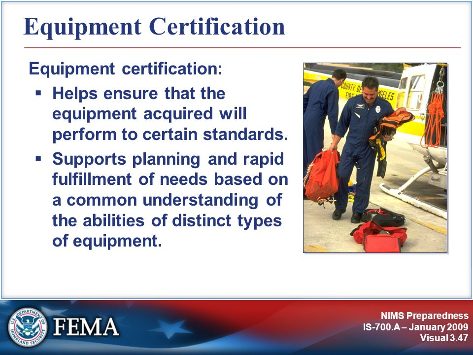 Equipment Certification