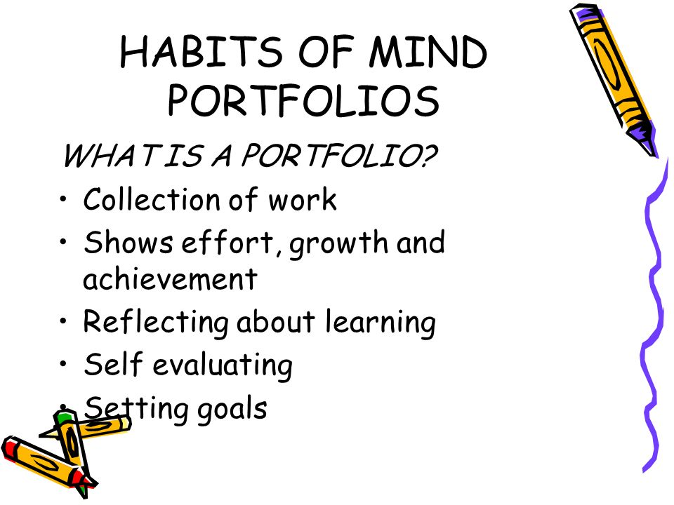 HABITS OF MIND PORTFOLIOS