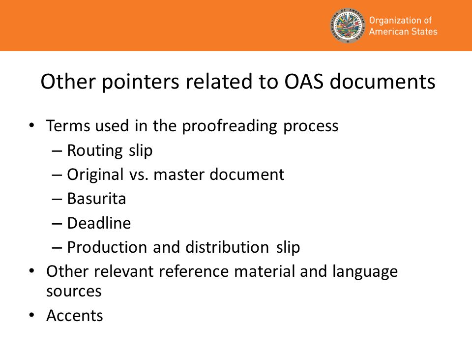 Other pointers related to OAS documents