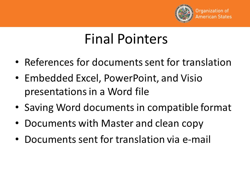 Final Pointers References for documents sent for translation