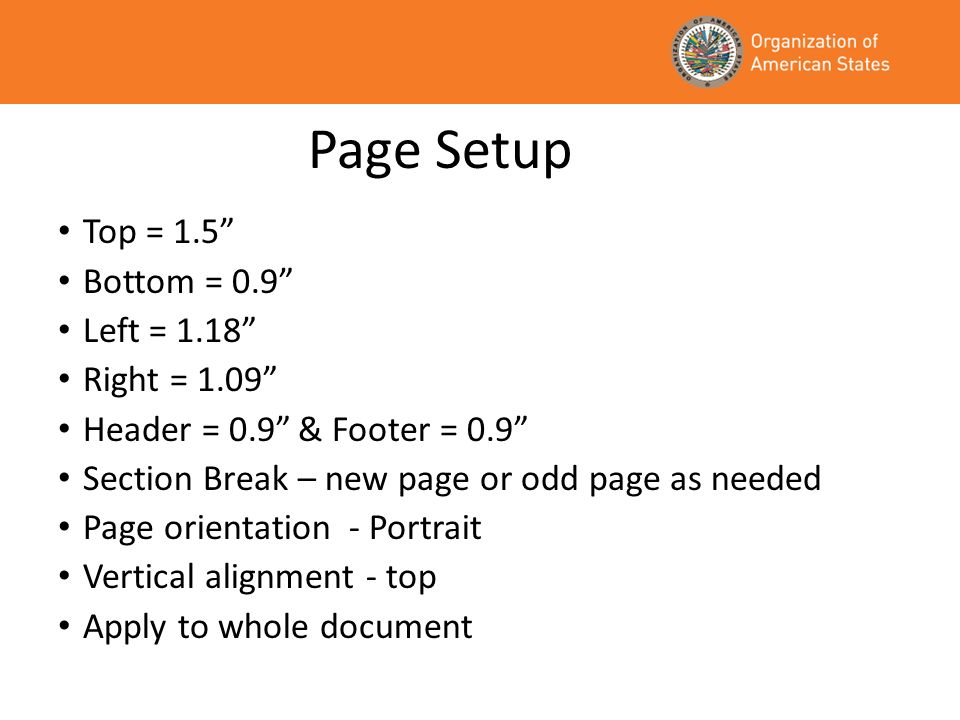 Page Setup Top = 1.5 Bottom = 0.9 Left = 1.18 Right = 1.09