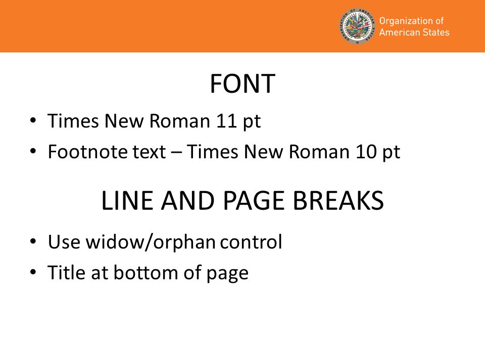 FONT LINE AND PAGE BREAKS Times New Roman 11 pt