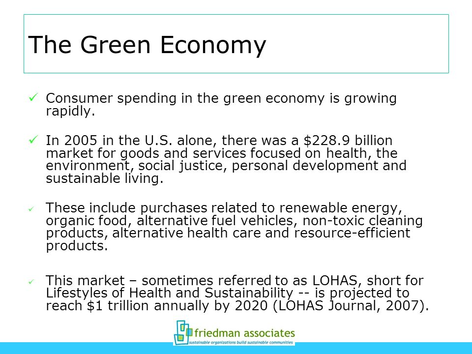 The Green Economy Consumer spending in the green economy is growing rapidly.