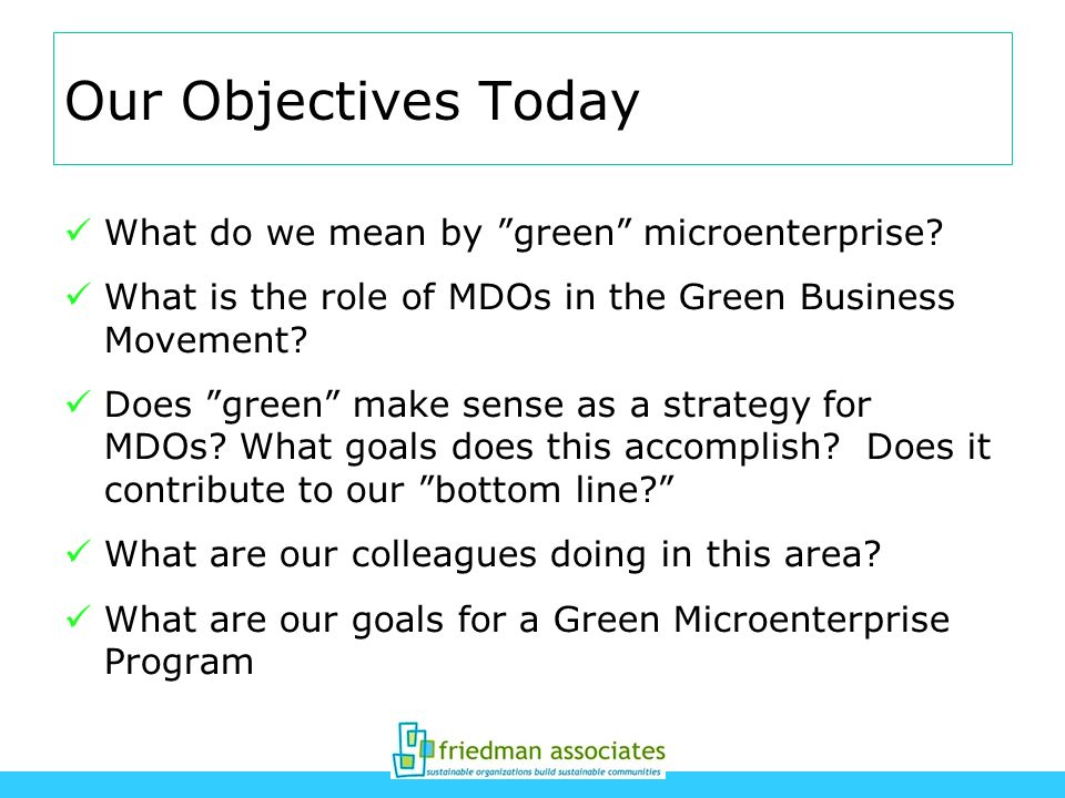 Our Objectives Today What do we mean by green microenterprise