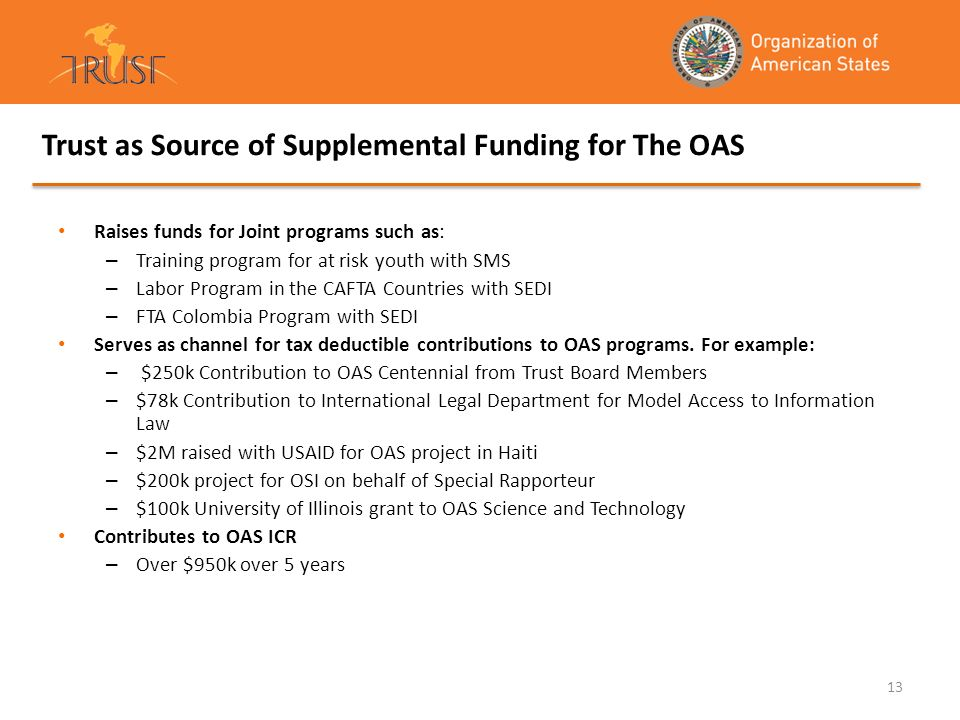 Trust as Source of Supplemental Funding for The OAS