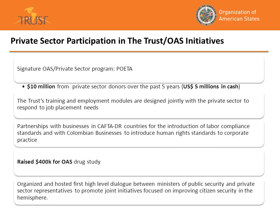 Private Sector Participation in The Trust/OAS Initiatives