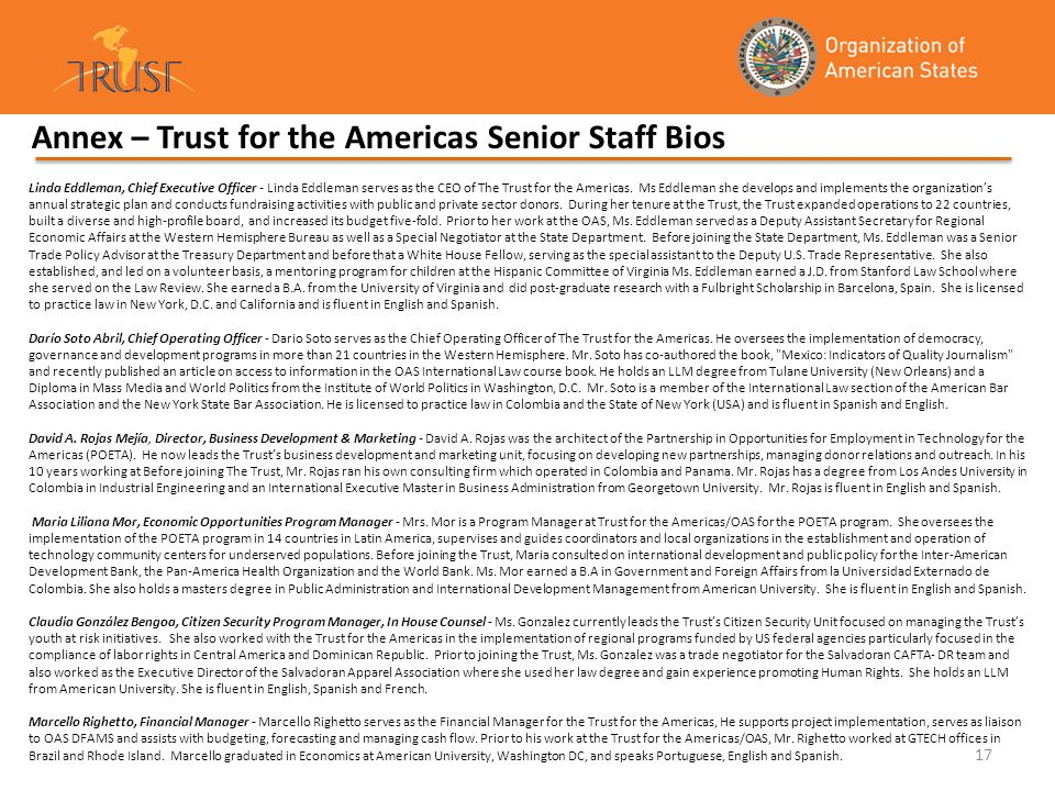 Annex – Trust for the Americas Senior Staff Bios
