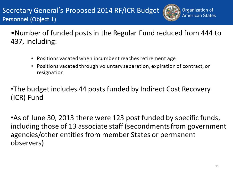 Secretary General's Proposed 2014 RF/ICR Budget