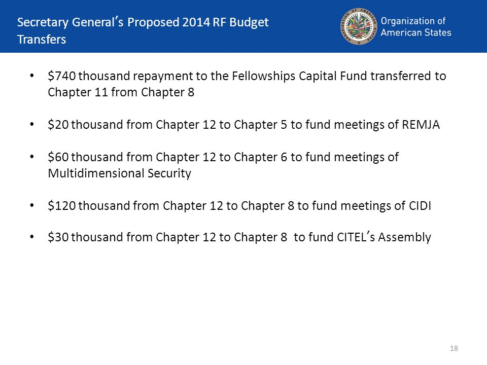 Secretary General's Proposed 2014 RF Budget