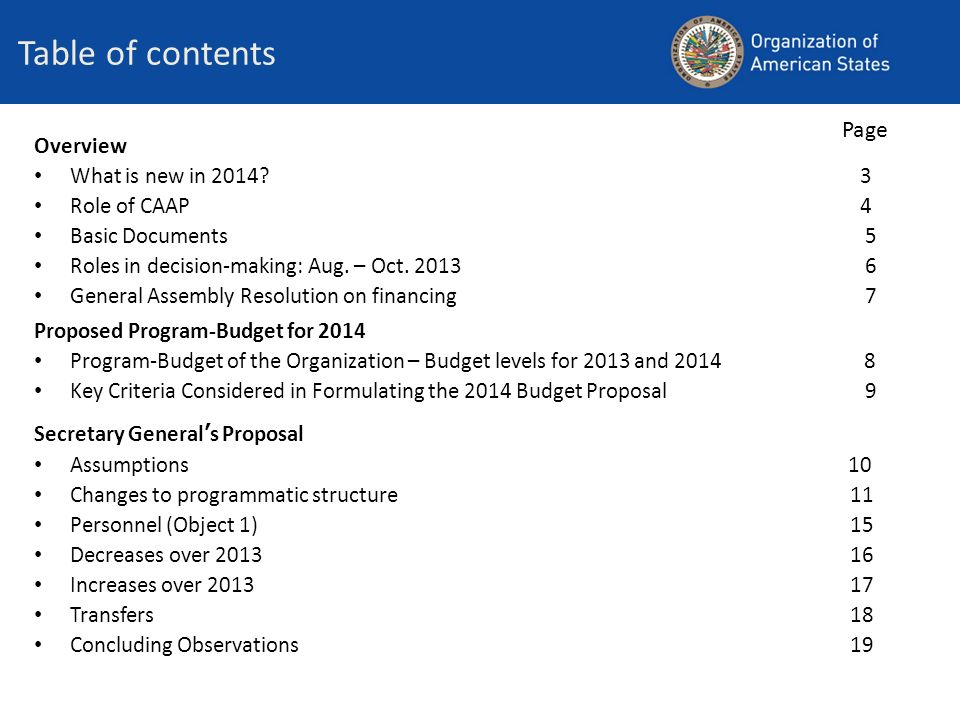 Table of contents Page Overview What is new in 2014 3 Role of CAAP 4