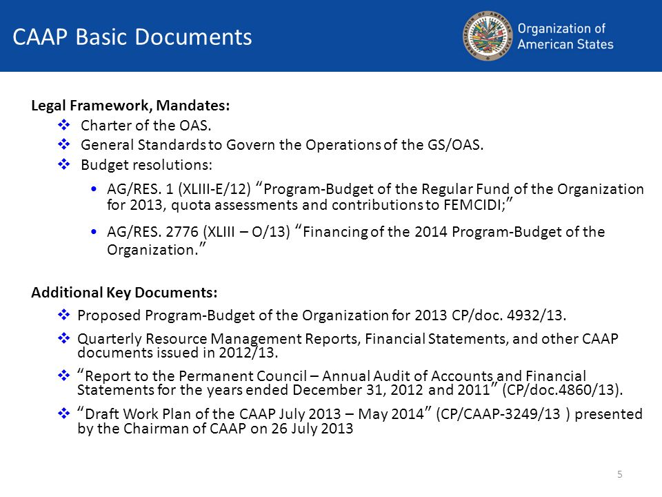 CAAP Basic Documents Legal Framework, Mandates: Charter of the OAS.
