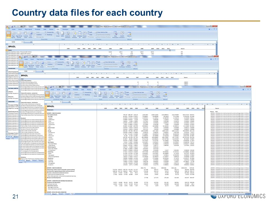 Country data files for each country