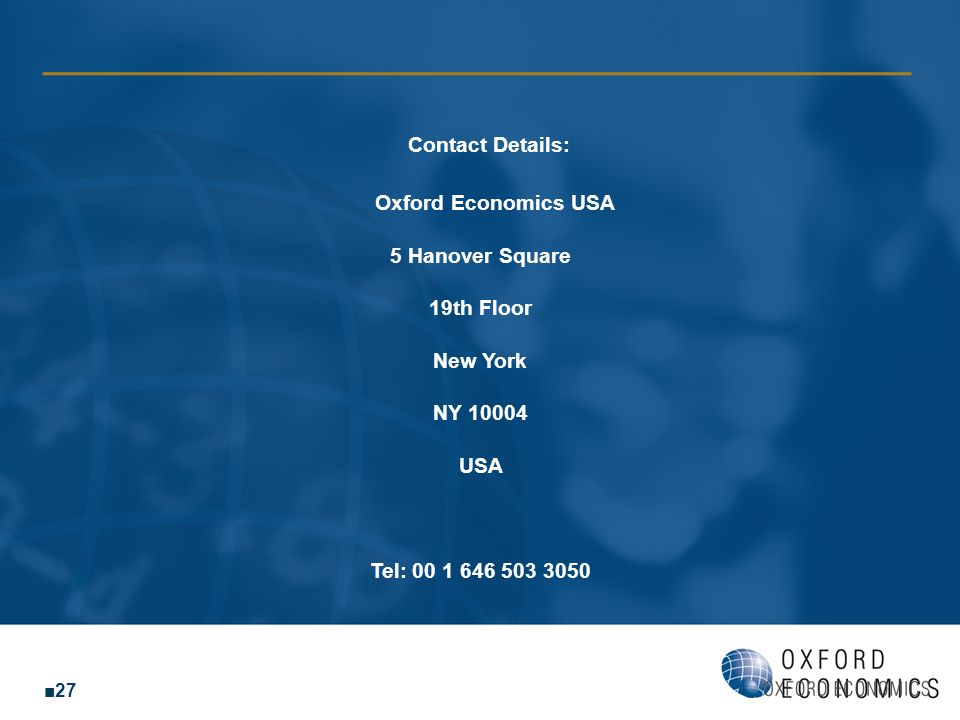 Contact Details: Oxford Economics USA
