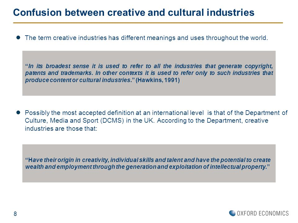 Confusion between creative and cultural industries