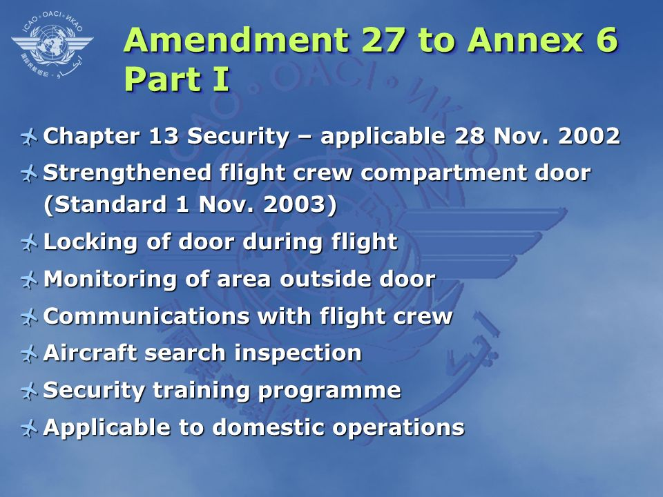 Amendment 27 to Annex 6 Part I