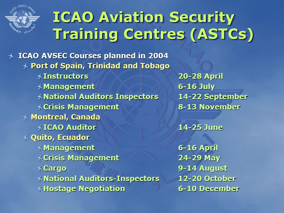 ICAO Aviation Security Training Centres (ASTCs)