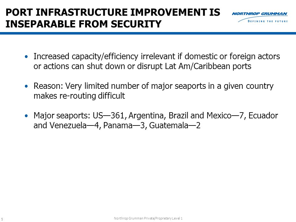 PORT INFRASTRUCTURE IMPROVEMENT IS INSEPARABLE FROM SECURITY