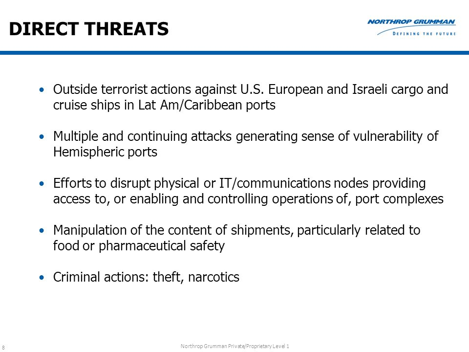 DIRECT THREATS Outside terrorist actions against U.S. European and Israeli cargo and cruise ships in Lat Am/Caribbean ports.