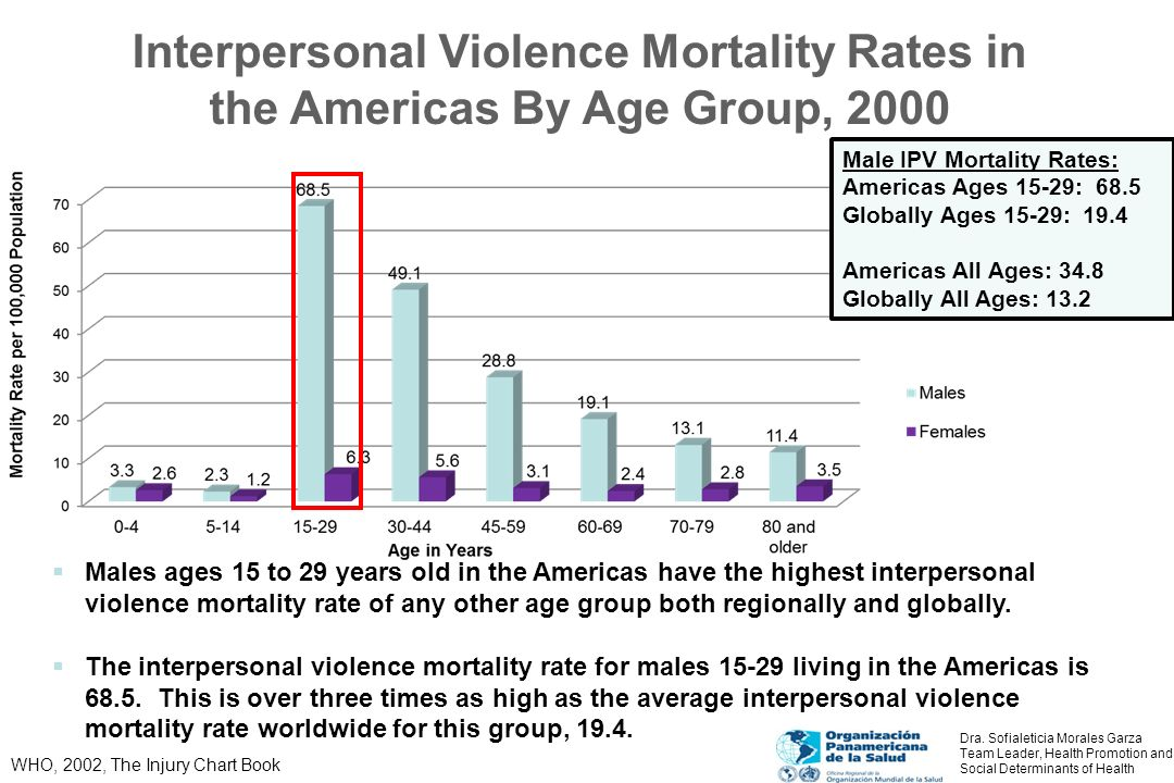 Interpersonal Violence Mortality Rates in the Americas By Age Group, 2000