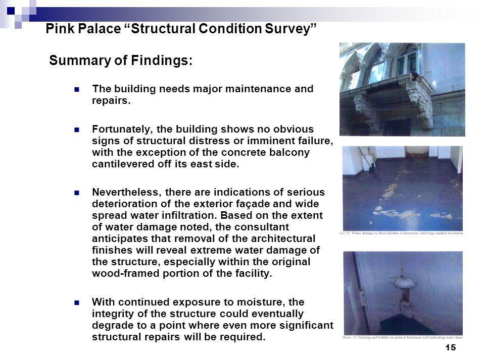 Pink Palace Structural Condition Survey Summary of Findings: