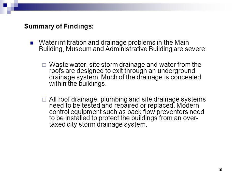 Summary of Findings: Water infiltration and drainage problems in the Main Building, Museum and Administrative Building are severe: