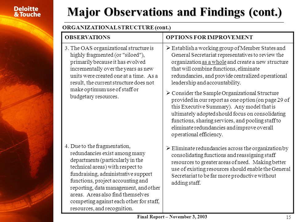 Major Observations and Findings (cont.)
