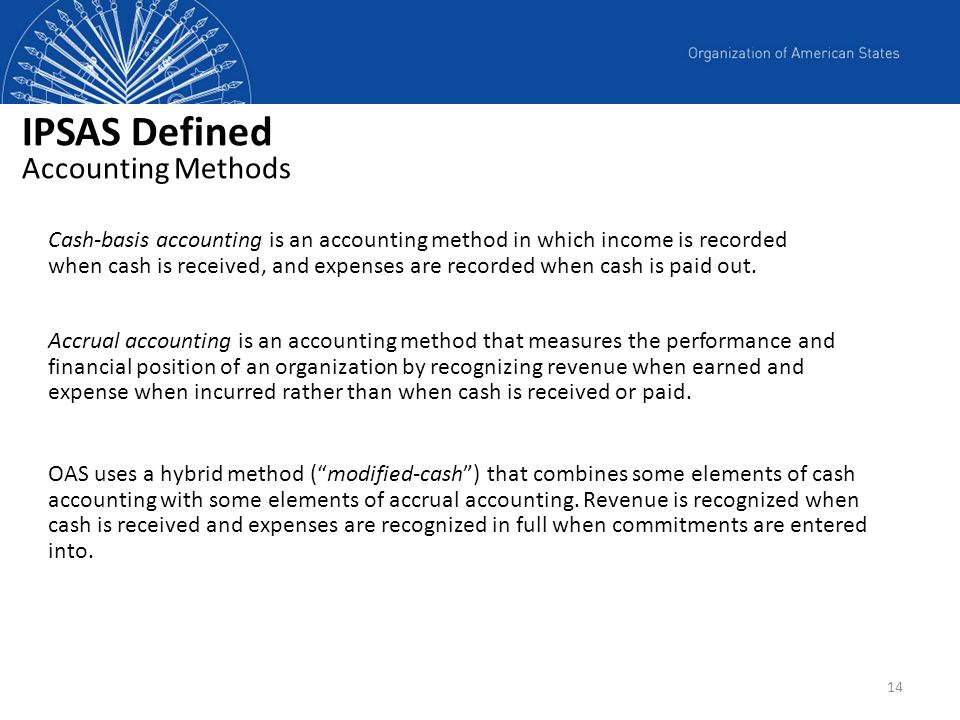 IPSAS Defined Accounting Methods