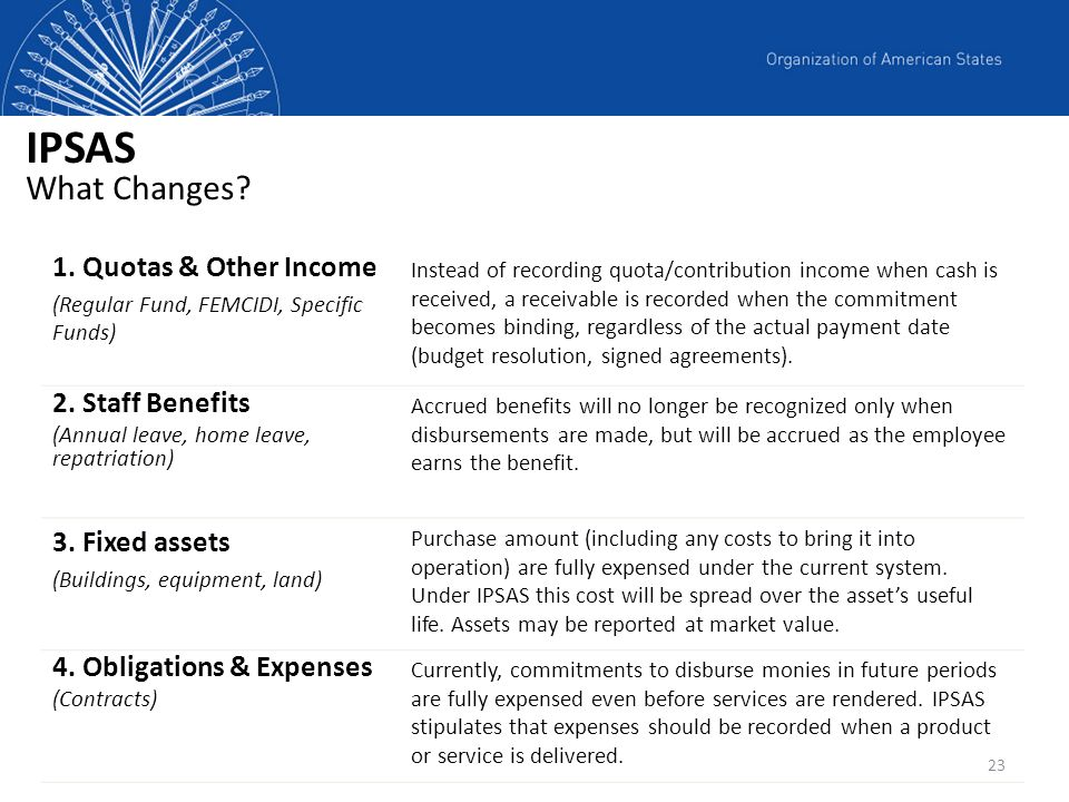 IPSAS What Changes Quotas & Other Income 2. Staff Benefits