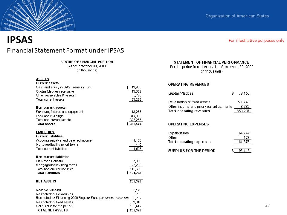 IPSAS Financial Statement Format under IPSAS