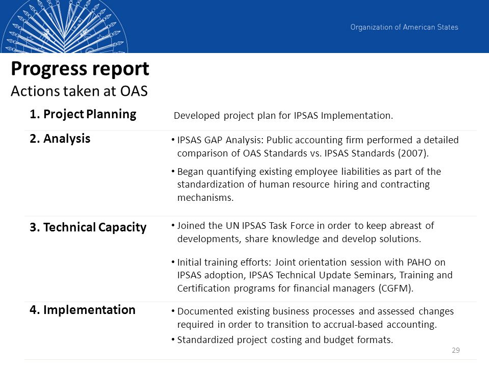 Progress report Actions taken at OAS
