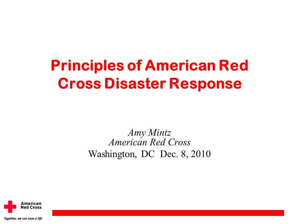 Principles of American Red Cross Disaster Response