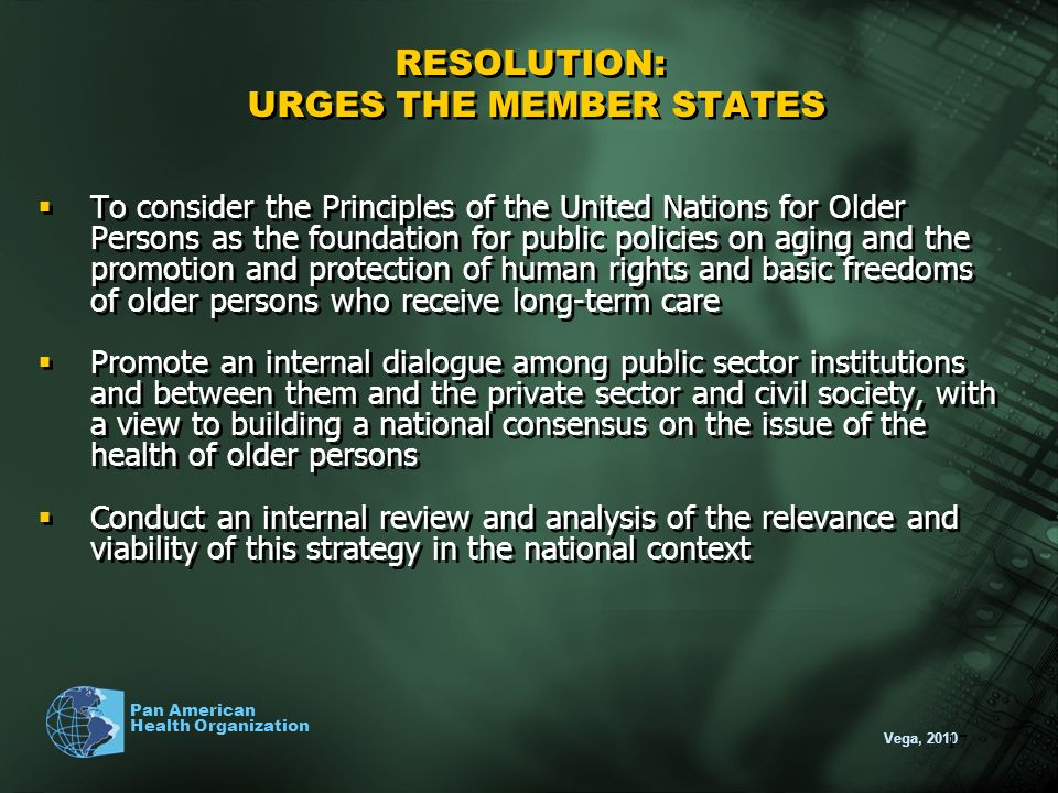 RESOLUTION: URGES THE MEMBER STATES